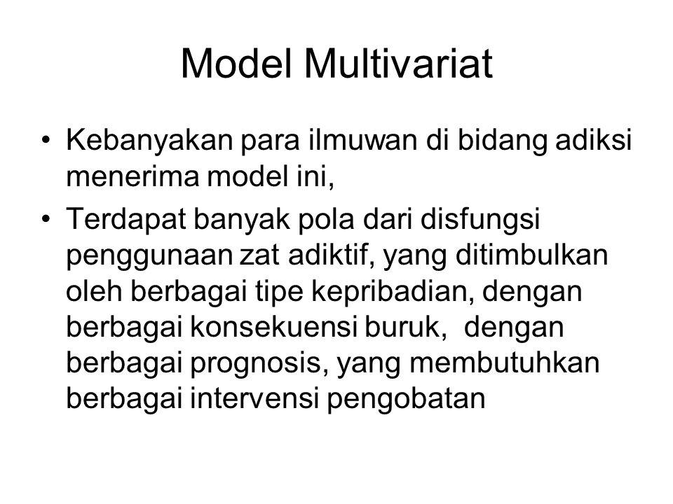 Model Multivariat Kebanyakan para ilmuwan di bidang adiksi menerima model ini,