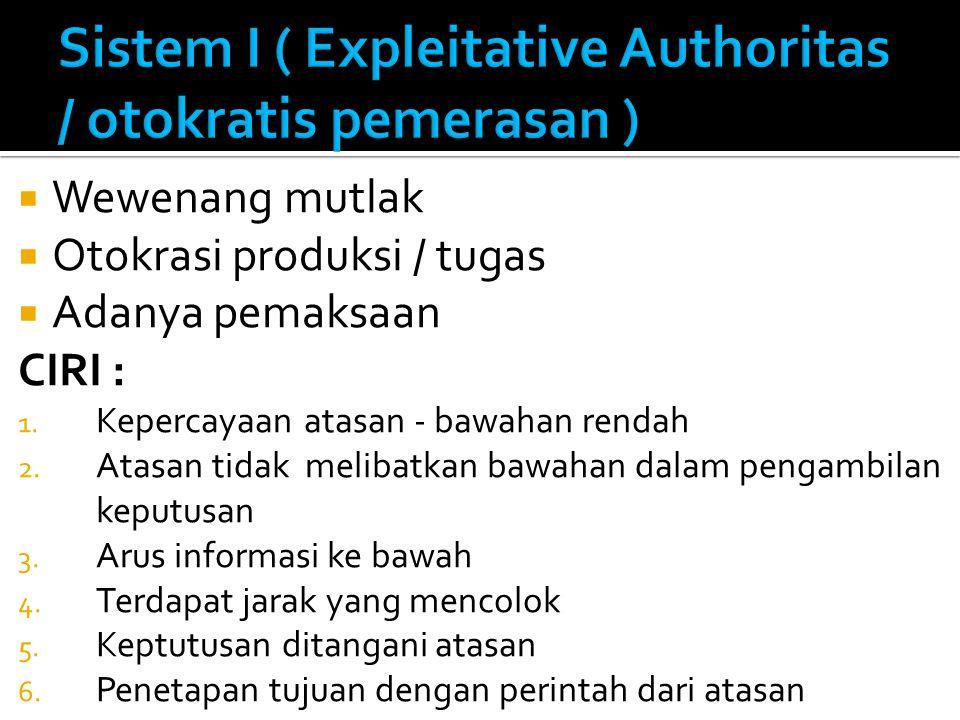 Sistem I ( Expleitative Authoritas / otokratis pemerasan )