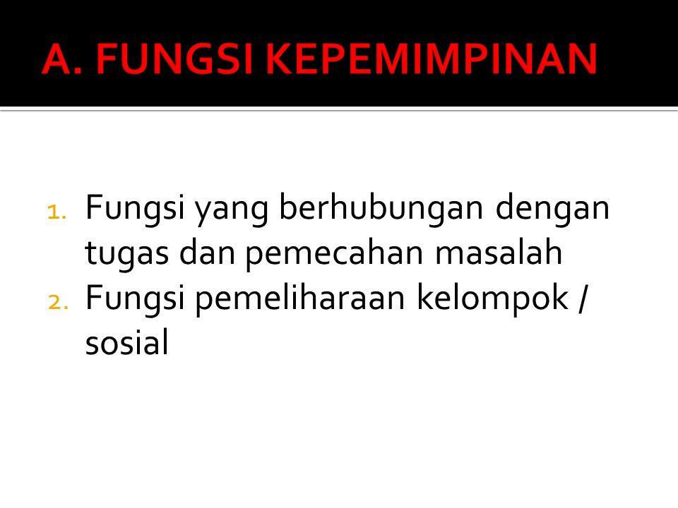 A. FUNGSI KEPEMIMPINAN Fungsi yang berhubungan dengan tugas dan pemecahan masalah.