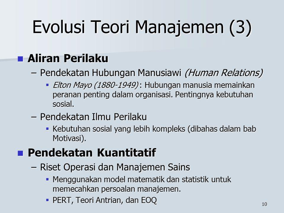 Evolusi Teori Manajemen (3)