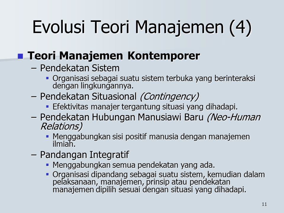 Evolusi Teori Manajemen (4)