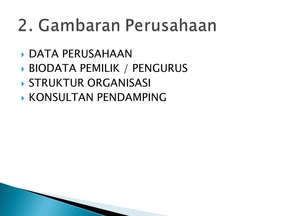 2. Gambaran Perusahaan DATA PERUSAHAAN BIODATA PEMILIK / PENGURUS