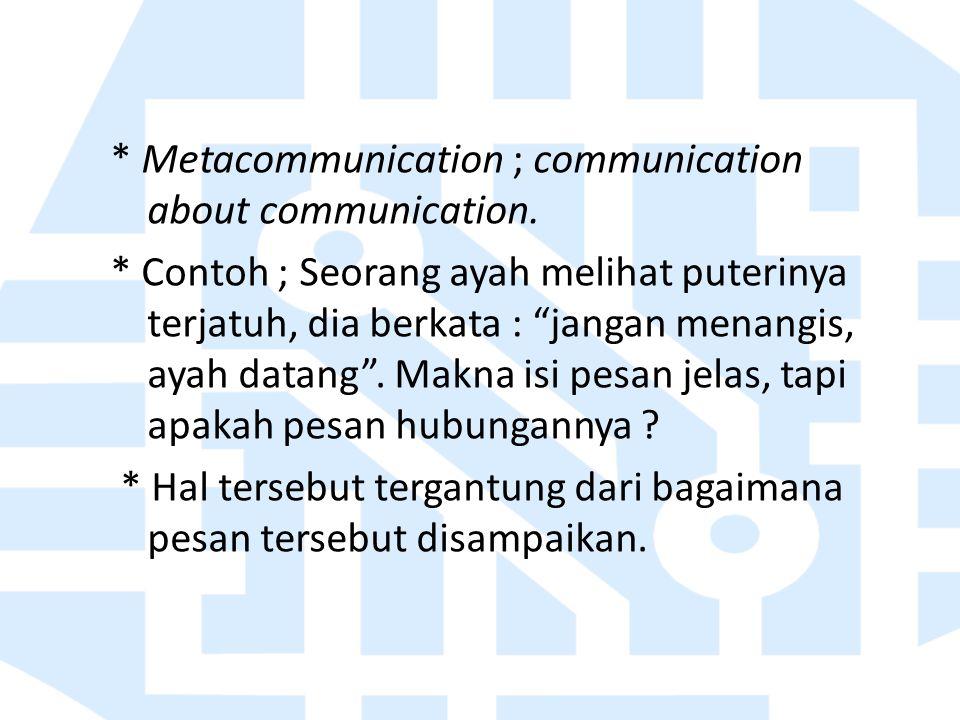 Metacommunication ; communication about communication