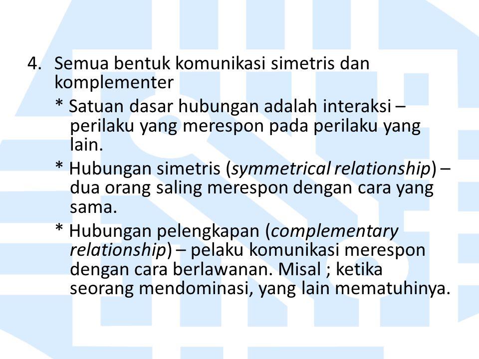 Semua bentuk komunikasi simetris dan komplementer
