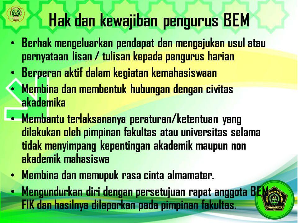Hak dan kewajiban pengurus BEM