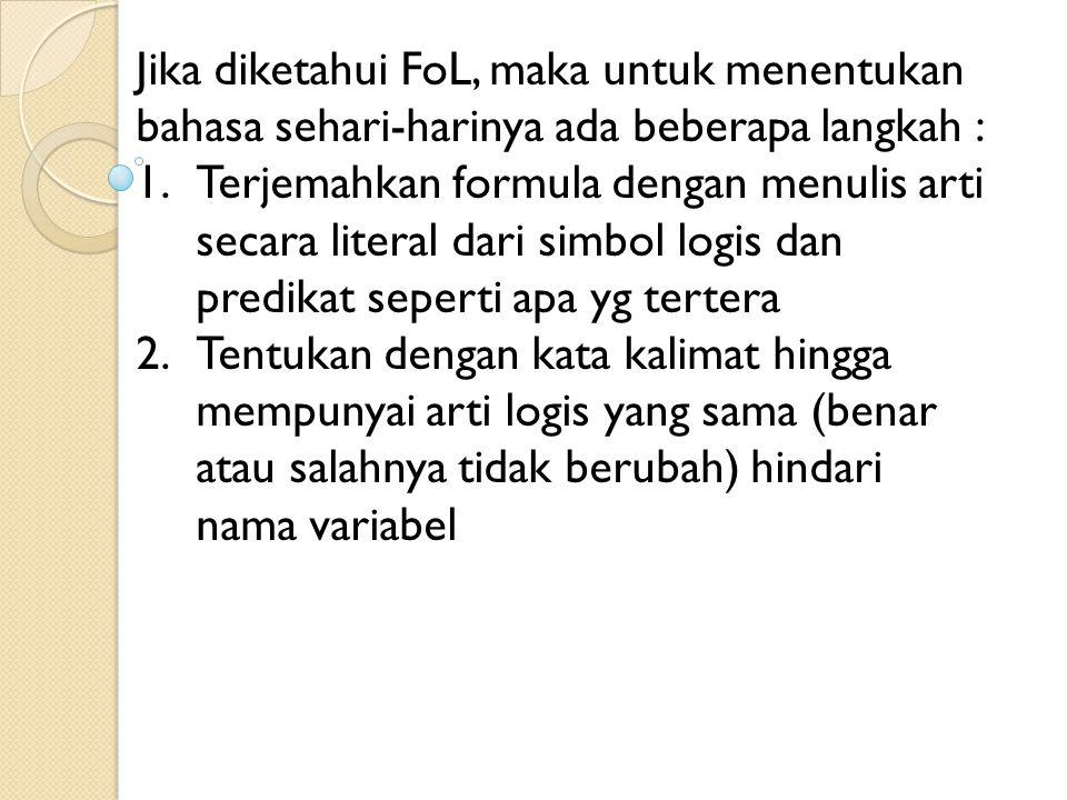 Jika diketahui FoL, maka untuk menentukan bahasa sehari-harinya ada beberapa langkah :