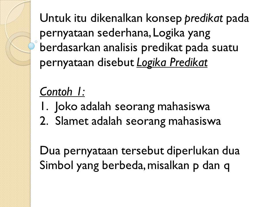 Untuk itu dikenalkan konsep predikat pada pernyataan sederhana, Logika yang berdasarkan analisis predikat pada suatu pernyataan disebut Logika Predikat