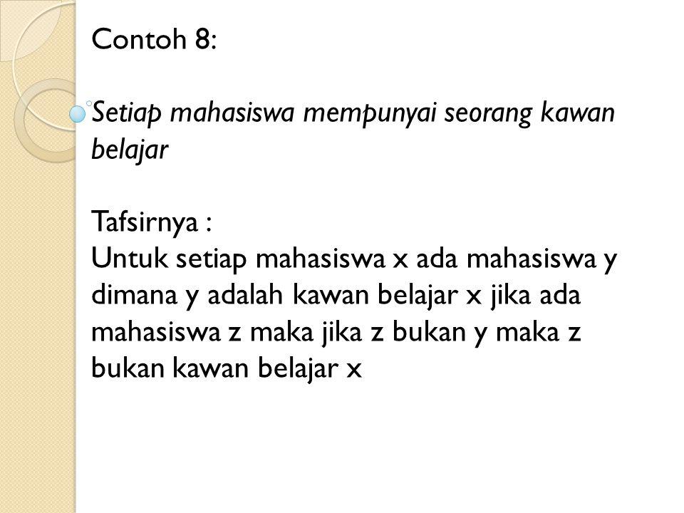 Contoh 8: Setiap mahasiswa mempunyai seorang kawan belajar. Tafsirnya :
