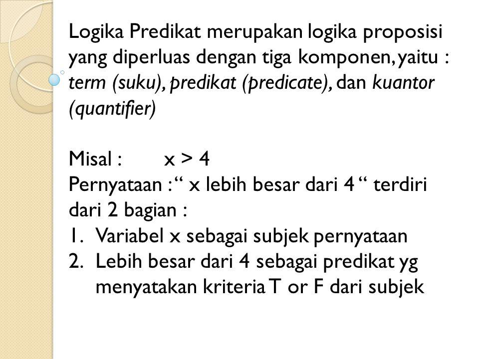 Logika Predikat merupakan logika proposisi yang diperluas dengan tiga komponen, yaitu : term (suku), predikat (predicate), dan kuantor (quantifier)