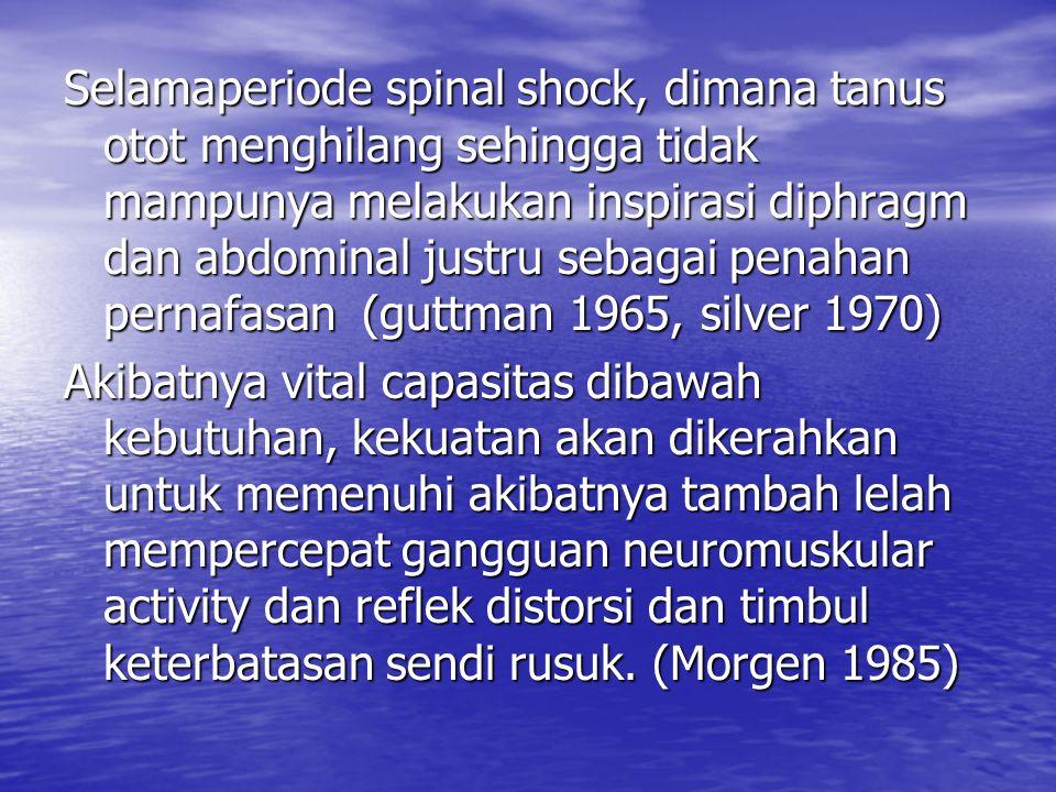 Selamaperiode spinal shock, dimana tanus otot menghilang sehingga tidak mampunya melakukan inspirasi diphragm dan abdominal justru sebagai penahan pernafasan (guttman 1965, silver 1970)