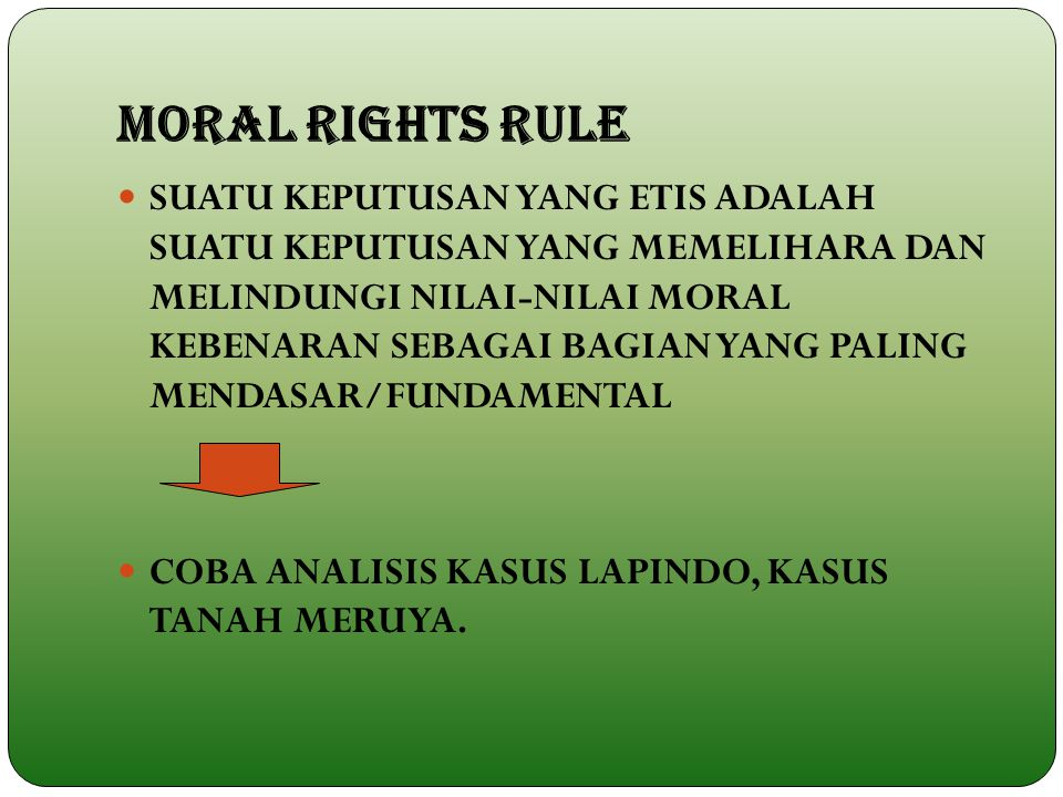 MORAL RIGHTS RULE
