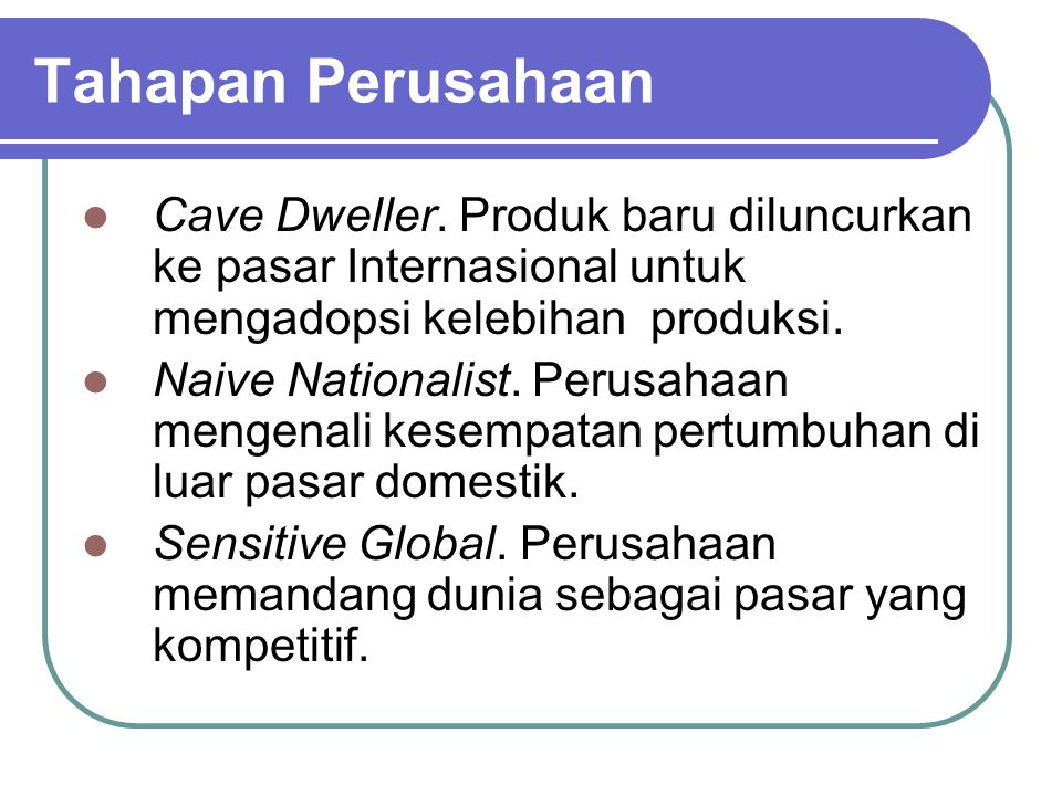 Tahapan Perusahaan Cave Dweller. Produk baru diluncurkan ke pasar Internasional untuk mengadopsi kelebihan produksi.
