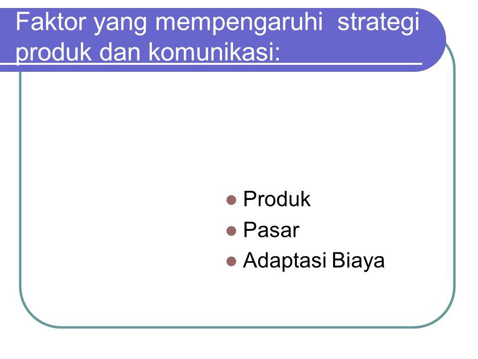 Faktor yang mempengaruhi strategi produk dan komunikasi: