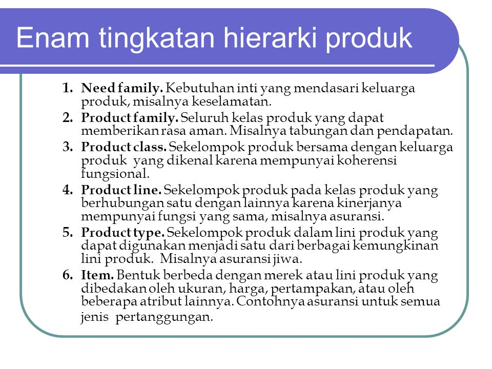 Enam tingkatan hierarki produk