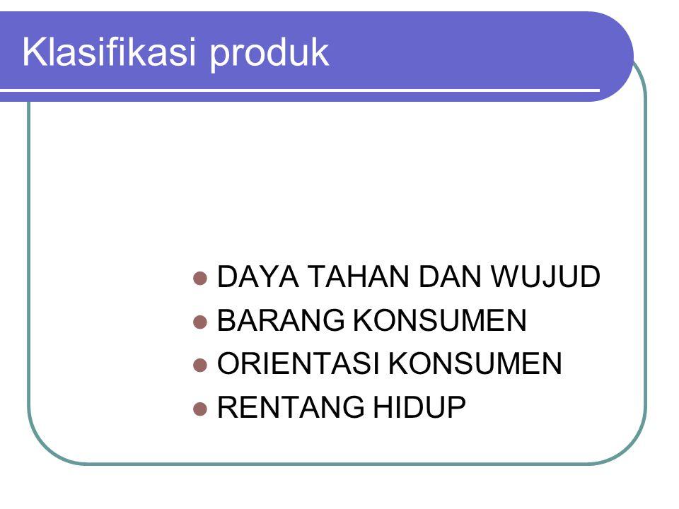 Klasifikasi produk DAYA TAHAN DAN WUJUD BARANG KONSUMEN