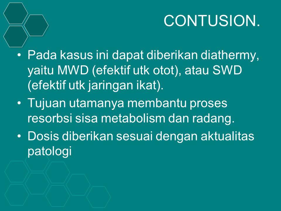 CONTUSION. Pada kasus ini dapat diberikan diathermy, yaitu MWD (efektif utk otot), atau SWD (efektif utk jaringan ikat).