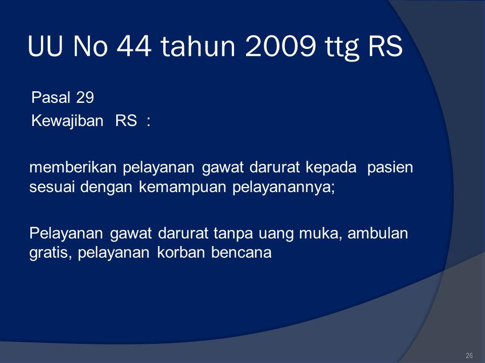 UU No 44 tahun 2009 ttg RS