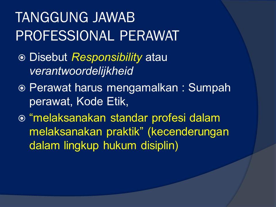 TANGGUNG JAWAB PROFESSIONAL PERAWAT
