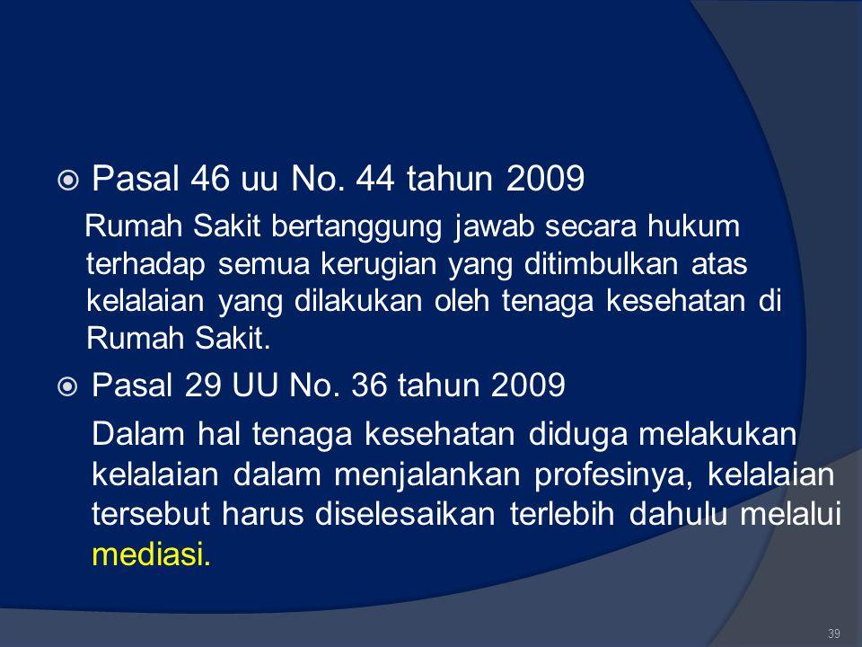 Pasal 46 uu No. 44 tahun 2009 Pasal 29 UU No. 36 tahun 2009