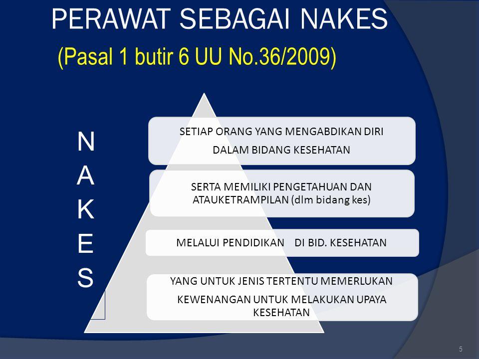PERAWAT SEBAGAI NAKES (Pasal 1 butir 6 UU No.36/2009)