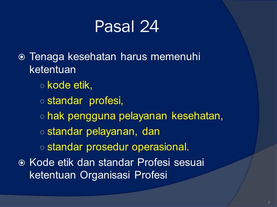 Pasal 24 Tenaga kesehatan harus memenuhi ketentuan kode etik,