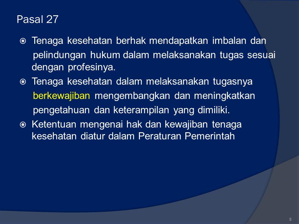 Pasal 27 Tenaga kesehatan berhak mendapatkan imbalan dan