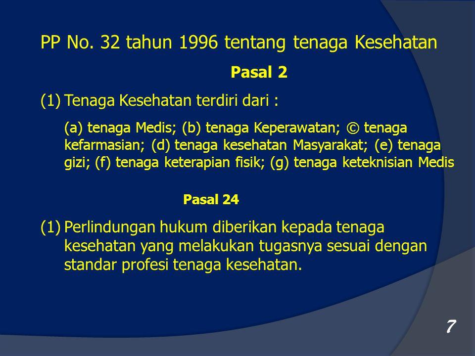 7 PP No. 32 tahun 1996 tentang tenaga Kesehatan Pasal 2