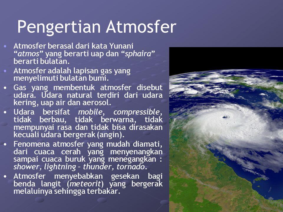 Pengertian Atmosfer Atmosfer berasal dari kata Yunani atmos yang berarti uap dan sphaira berarti bulatan.