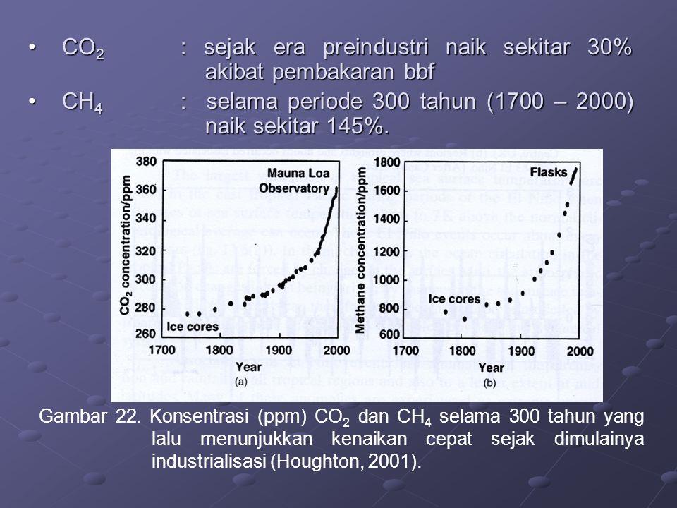 CO2 : sejak era preindustri naik sekitar 30% akibat pembakaran bbf