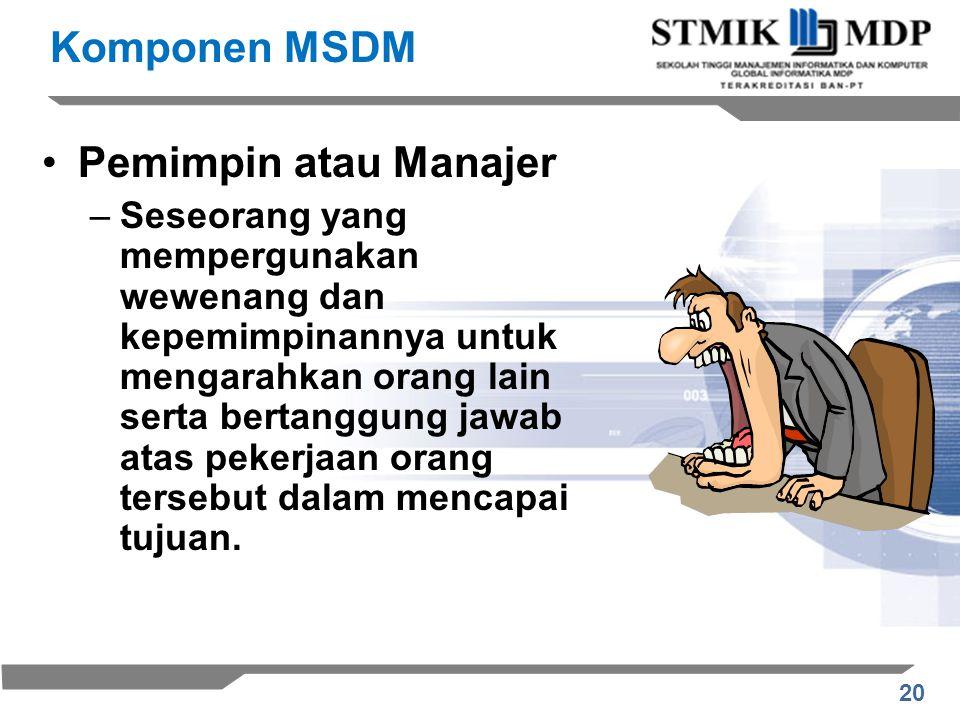 Komponen MSDM Pemimpin atau Manajer