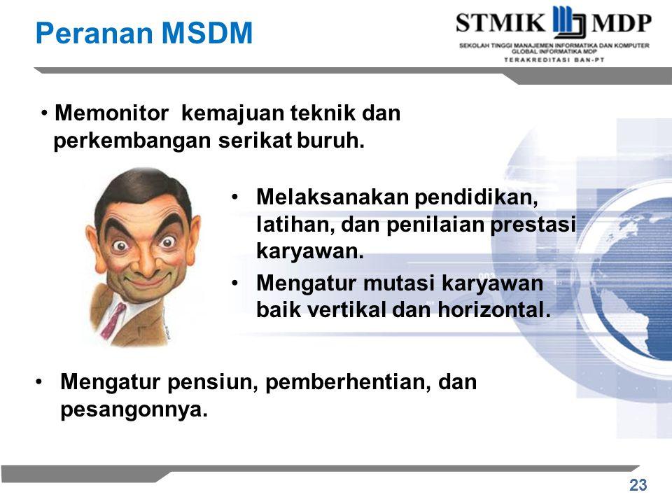 Peranan MSDM Memonitor kemajuan teknik dan perkembangan serikat buruh.