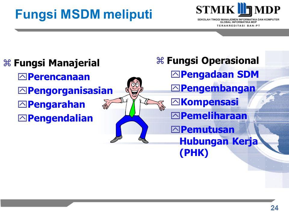 Fungsi MSDM meliputi Fungsi Operasional Fungsi Manajerial
