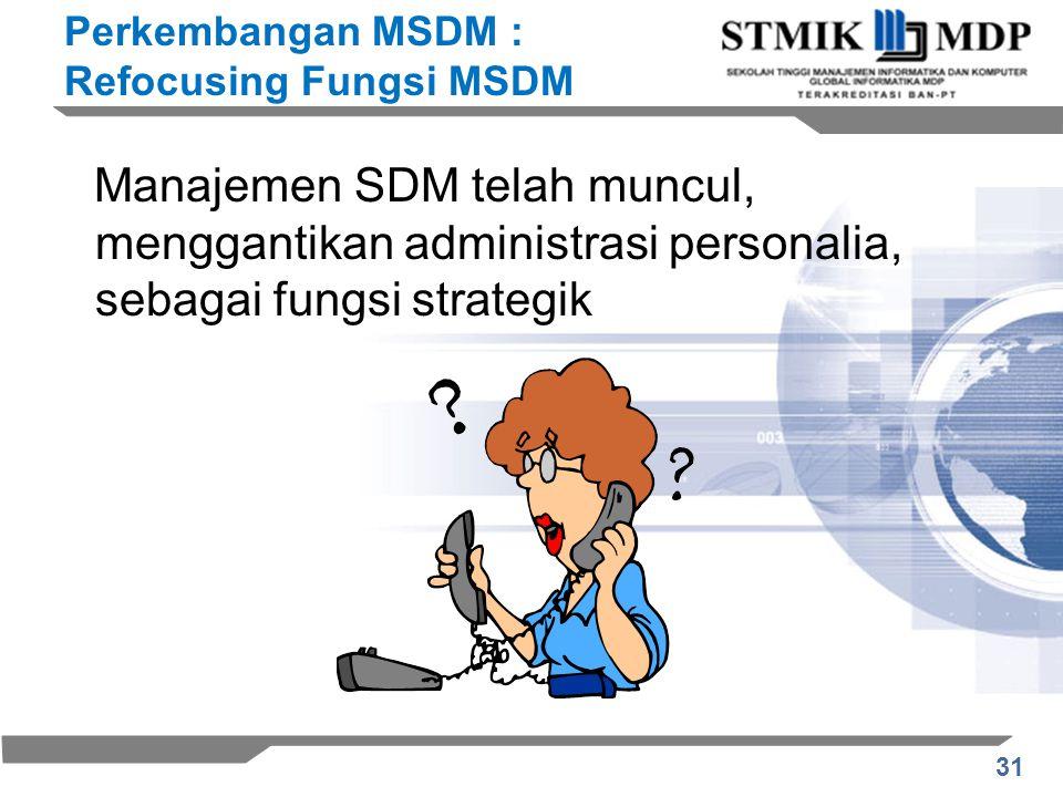 Perkembangan MSDM : Refocusing Fungsi MSDM