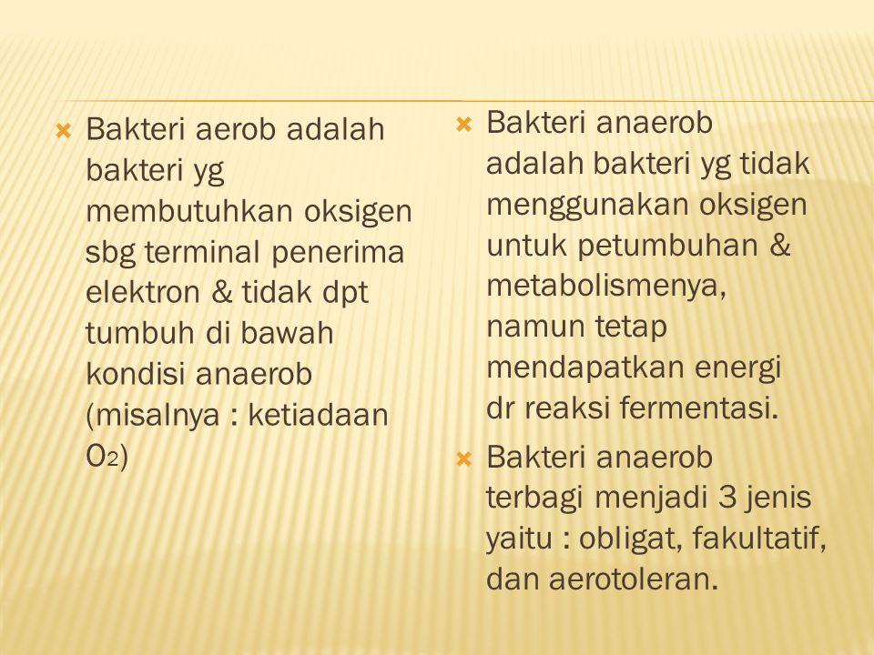 Bakteri anaerob adalah bakteri yg tidak menggunakan oksigen untuk petumbuhan & metabolismenya, namun tetap mendapatkan energi dr reaksi fermentasi.