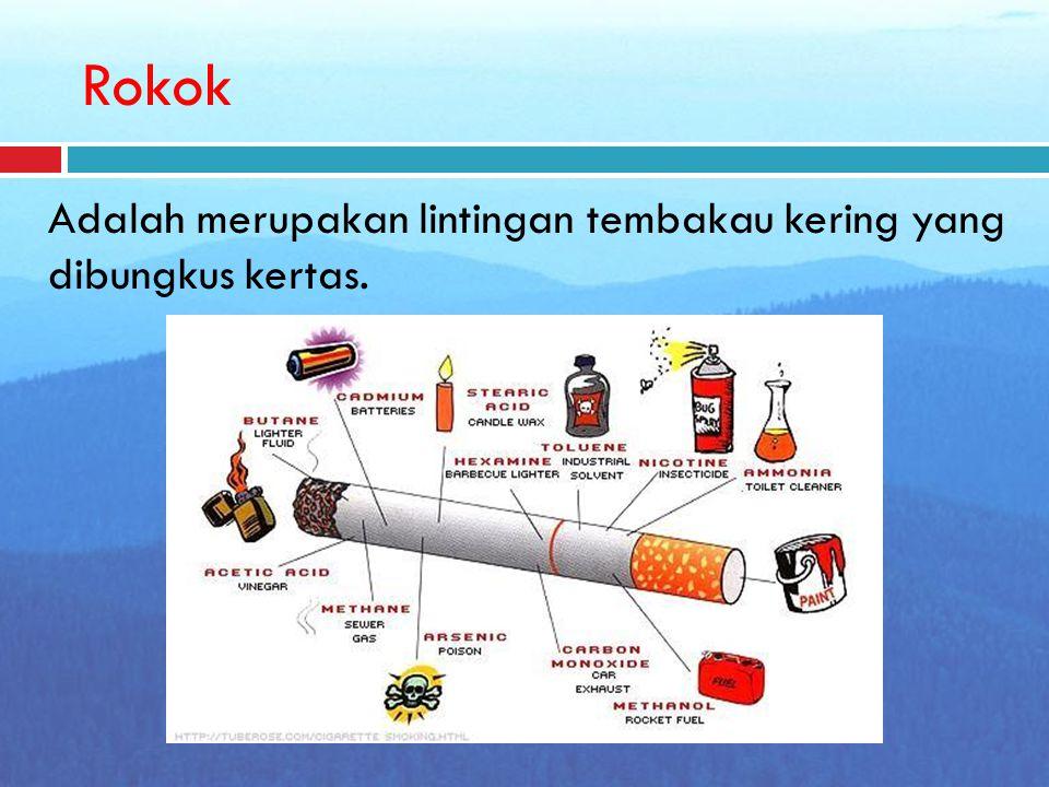 Rokok Adalah merupakan lintingan tembakau kering yang dibungkus kertas.