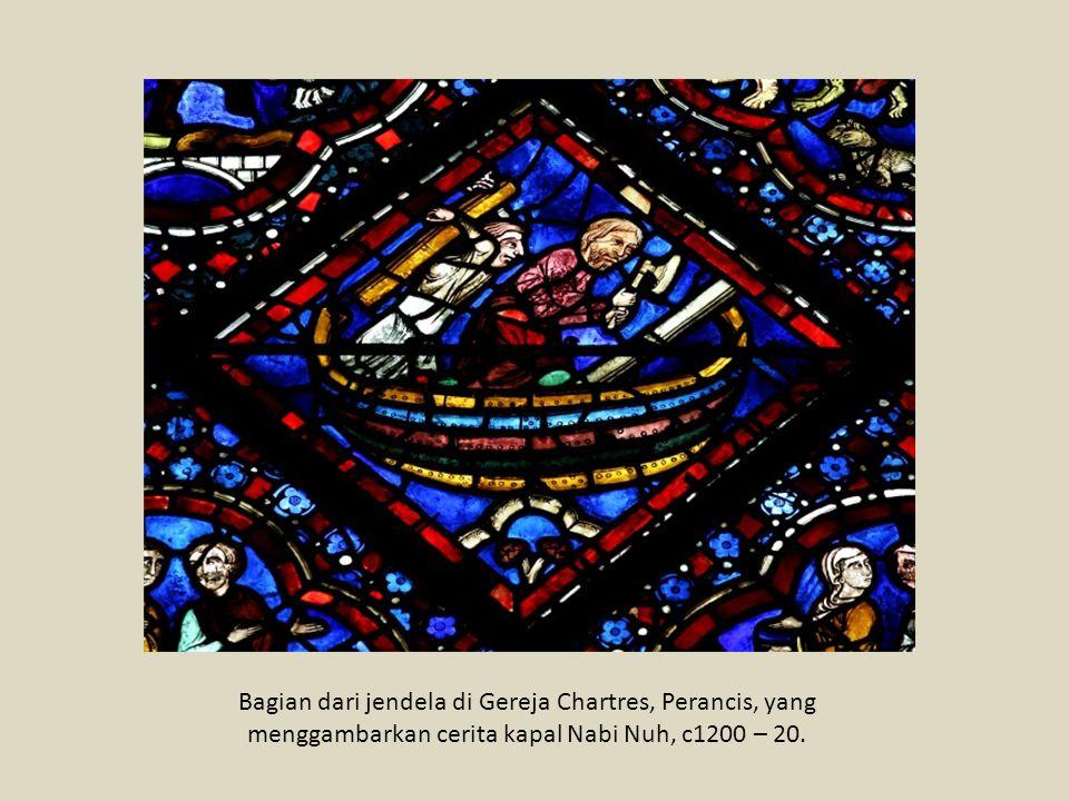 Stained glass, atau lukisan dari kaca yang diwarnai, digunakan dengan luas pada era Gothic.