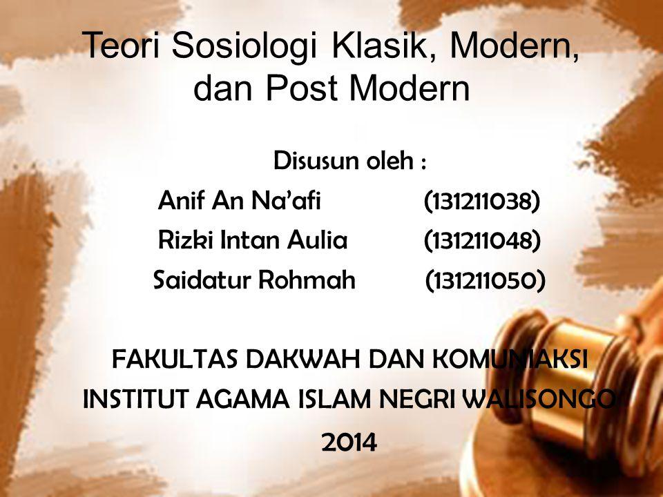 Teori Sosiologi Klasik, Modern, dan Post Modern