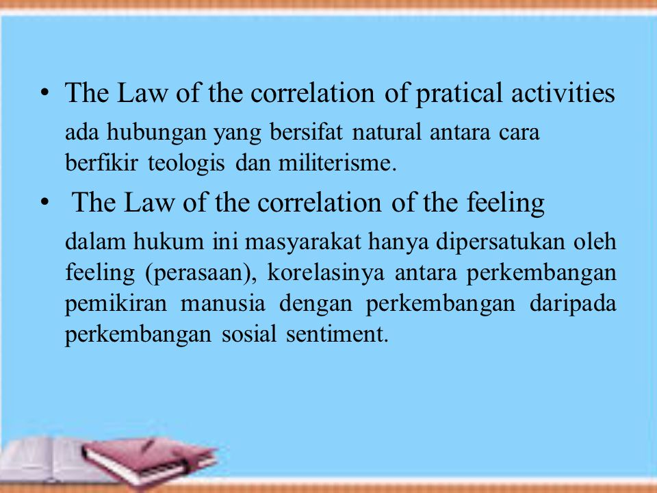 The Law of the correlation of pratical activities