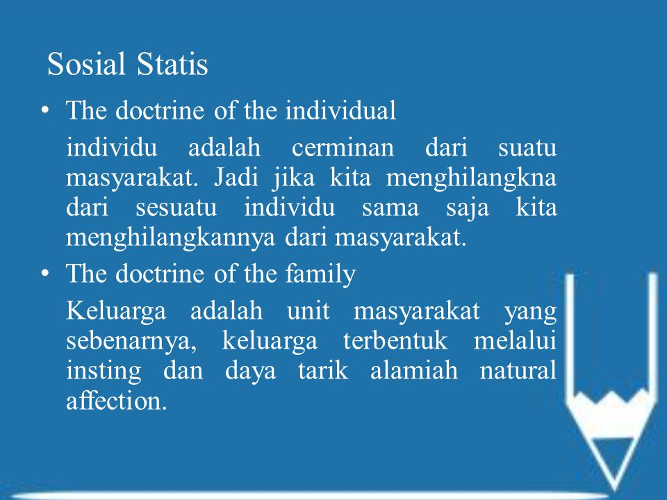 Sosial Statis The doctrine of the individual