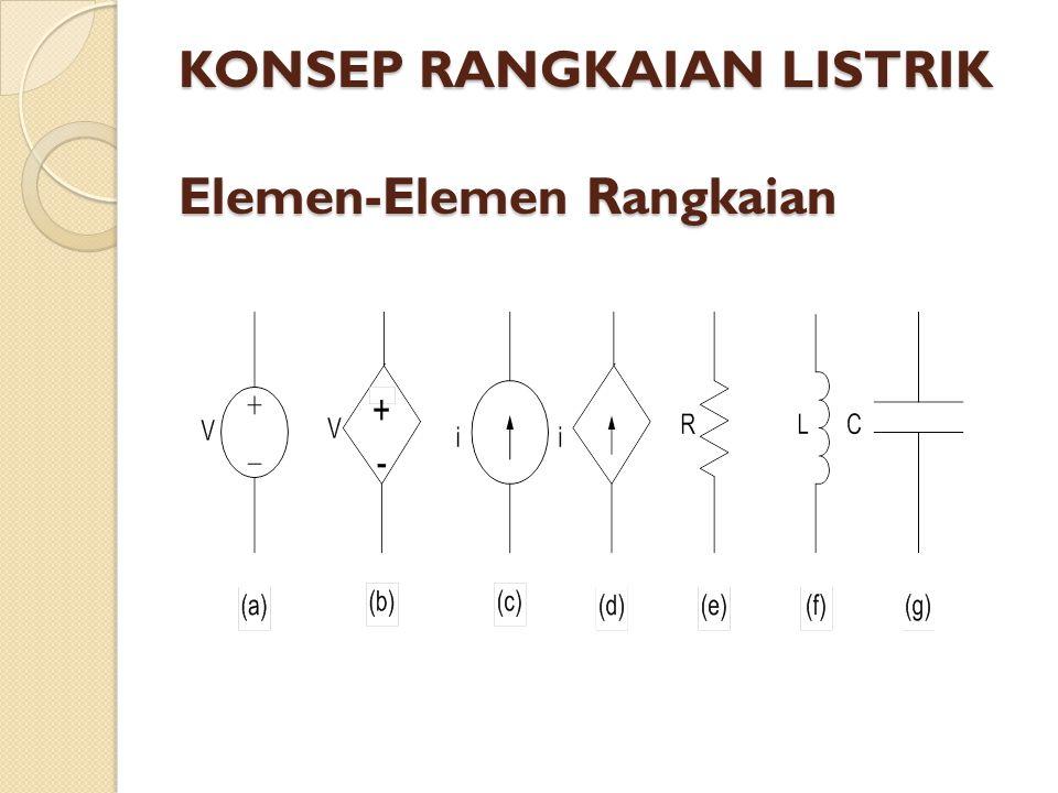 KONSEP RANGKAIAN LISTRIK Elemen-Elemen Rangkaian