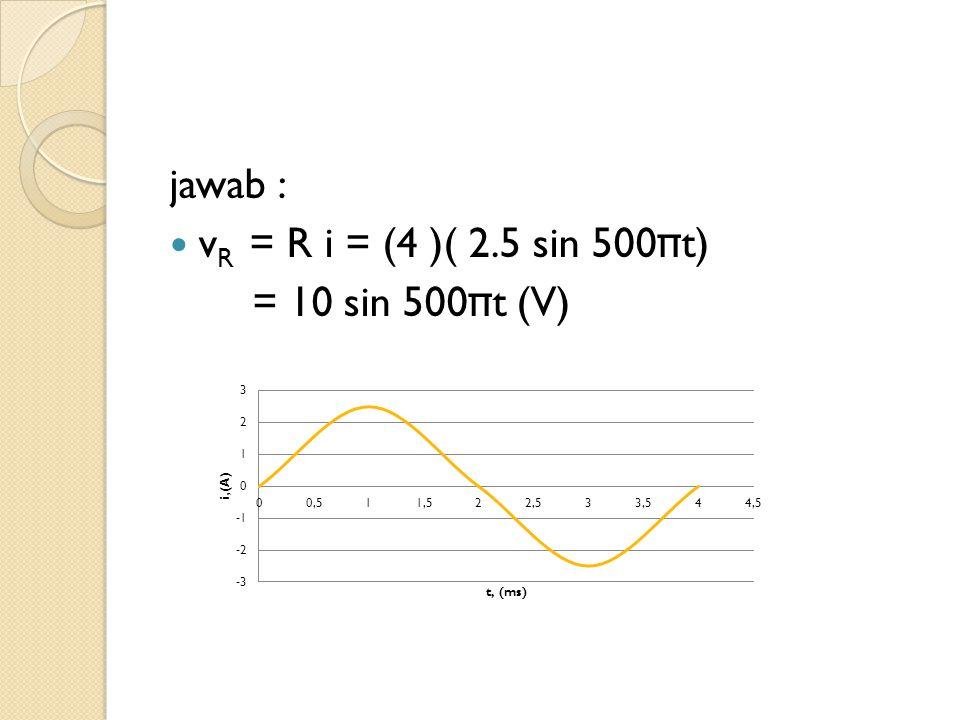 jawab : vR = R i = (4 )( 2.5 sin 500πt) = 10 sin 500πt (V)