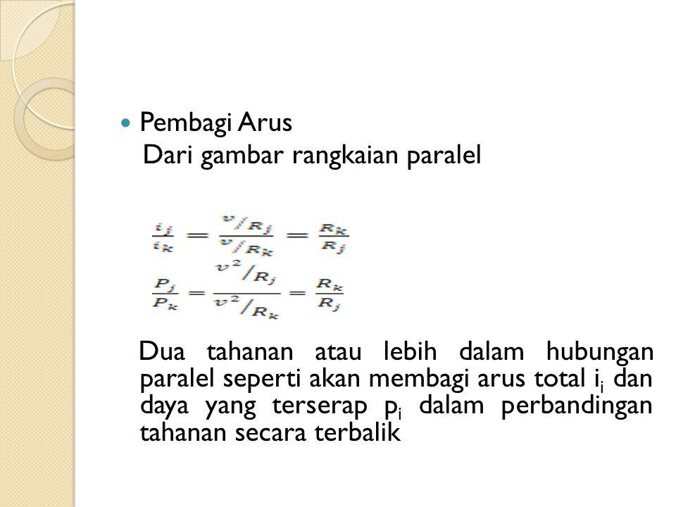 Pembagi Arus Dari gambar rangkaian paralel.