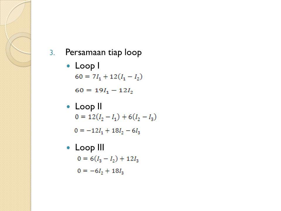 Persamaan tiap loop Loop I Loop II Loop III