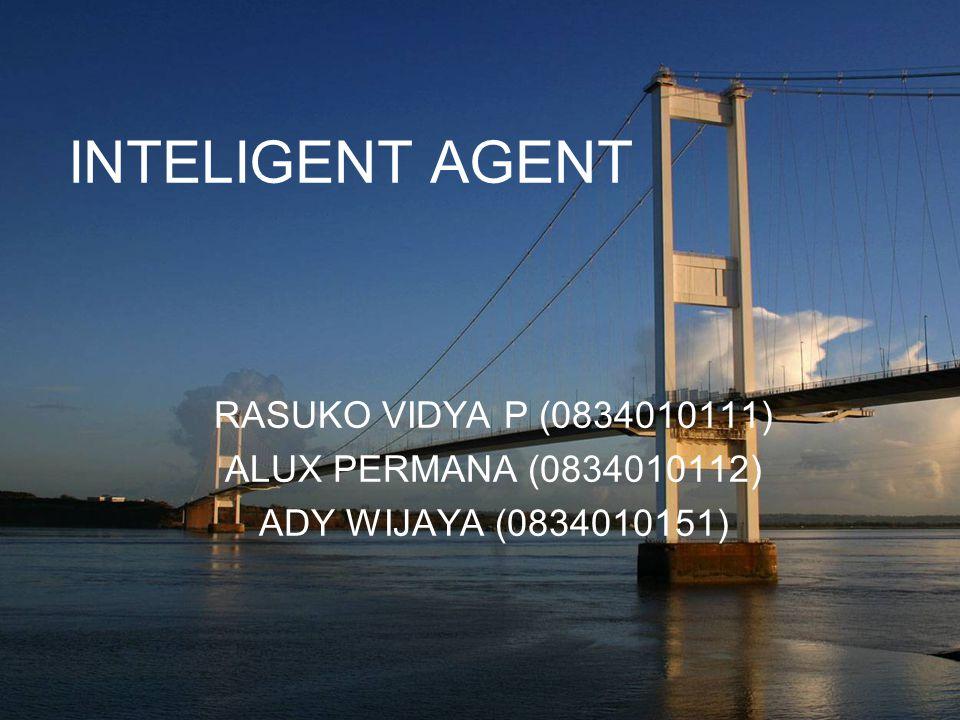 INTELIGENT AGENT RASUKO VIDYA P (0834010111) ALUX PERMANA (0834010112)