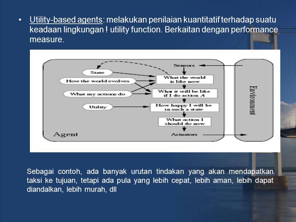 Utility-based agents: melakukan penilaian kuantitatif terhadap suatu keadaan lingkungan ! utility function. Berkaitan dengan performance measure.