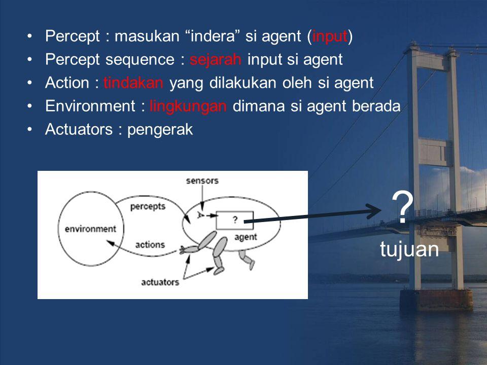 tujuan Percept : masukan indera si agent (input)