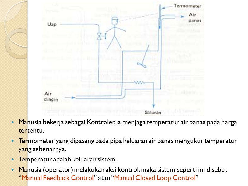 Manusia bekerja sebagai Kontroler, ia menjaga temperatur air panas pada harga tertentu.