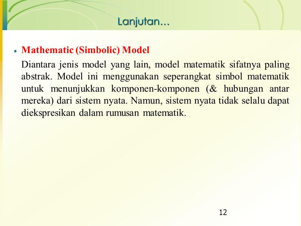 Lanjutan… Mathematic (Simbolic) Model.