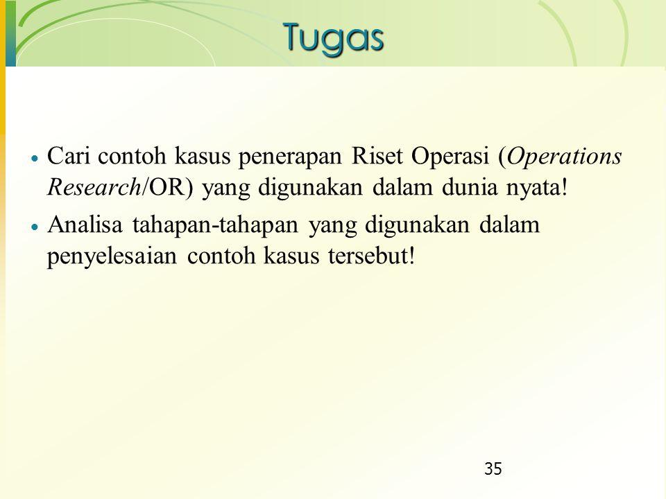 Tugas Cari contoh kasus penerapan Riset Operasi (Operations Research/OR) yang digunakan dalam dunia nyata!
