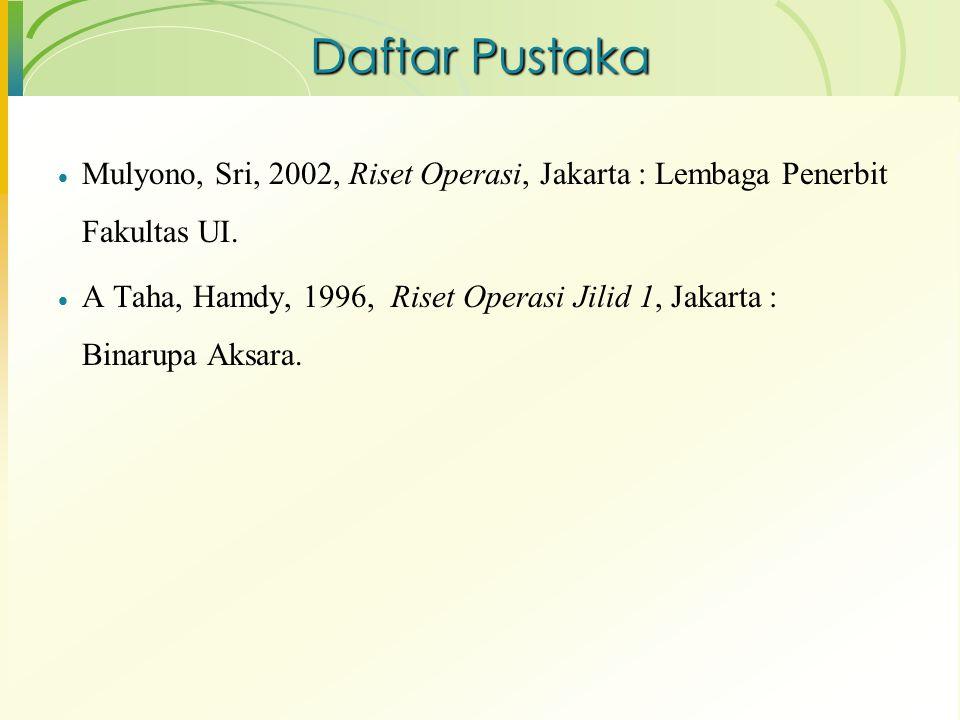 Daftar Pustaka Mulyono, Sri, 2002, Riset Operasi, Jakarta : Lembaga Penerbit Fakultas UI.